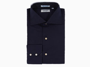 Navy Stretch Cotton Shirt